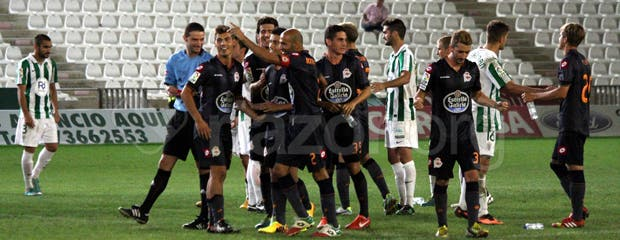 El Deportivo celebrando el pase de ronda en Córdoba