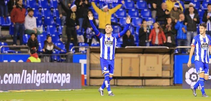 Lucas celebración Deportivo Eibar