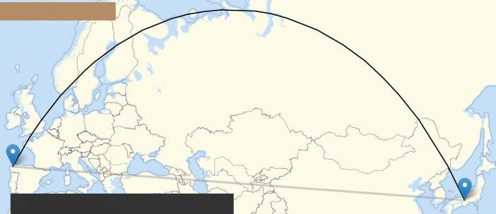 El lazo en el mapa entre A Coruña y Kyoto es negro, pero debía ser blanquiazul