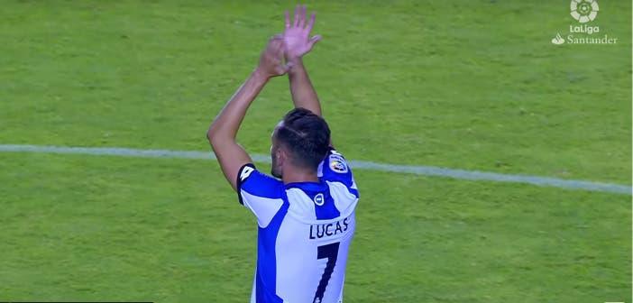 Lucas saluda al público tras el partido || Imagen: Youtube La Liga