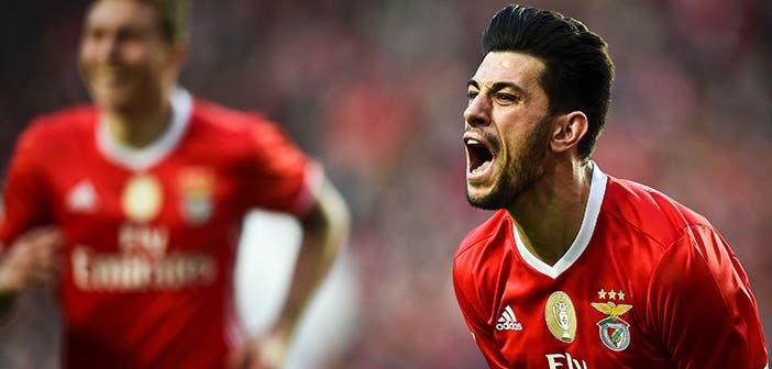 Pizzi celebra un gol con el Benfica