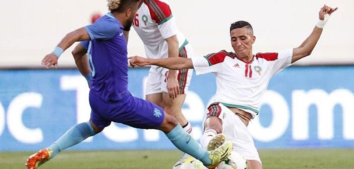 Fayçal Fajr durante un encuentro con la selección de Marruecos