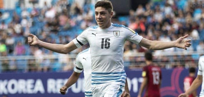 Fede Valverde celebra el gol del empate de Uruguay ante Portugal en los cuartos de final del Mundial Sub-20