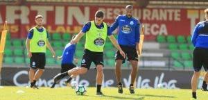 Schär y Sidnei en el entrenamiento de Vilalba del 9 de agosto