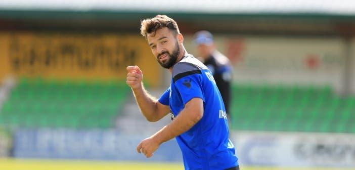 Bruno Gama gesto en entrenamiento en Vilalba el 9 de agosto