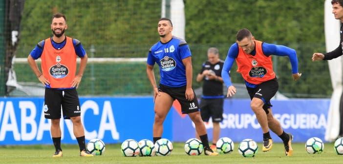 Lucas Pérez, Bakkali y Emre Çolak en entrenamiento del Deportivo