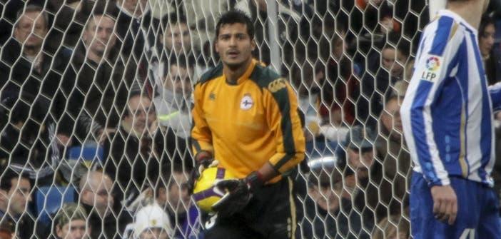 Munúa en un partido con el Dépor ante el Madrid en el Bernabéu