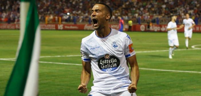 Quique González celebración de su gol en el Extremadura vs Deportivo