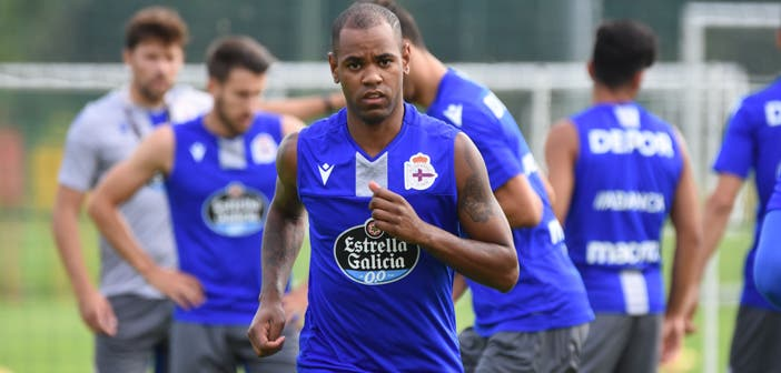 Diego Rolan en un entrenamiento con el Deportivo