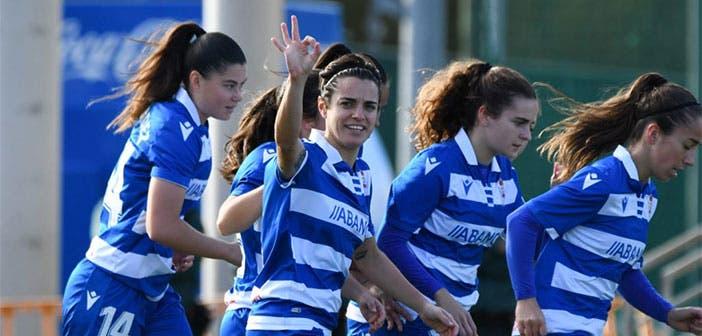 Alba Merino celebra un gol con el Dépor Abanca
