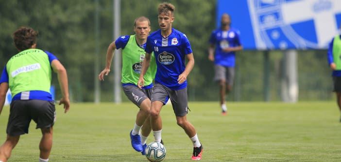 Gandoy entrenando con el Deportivo