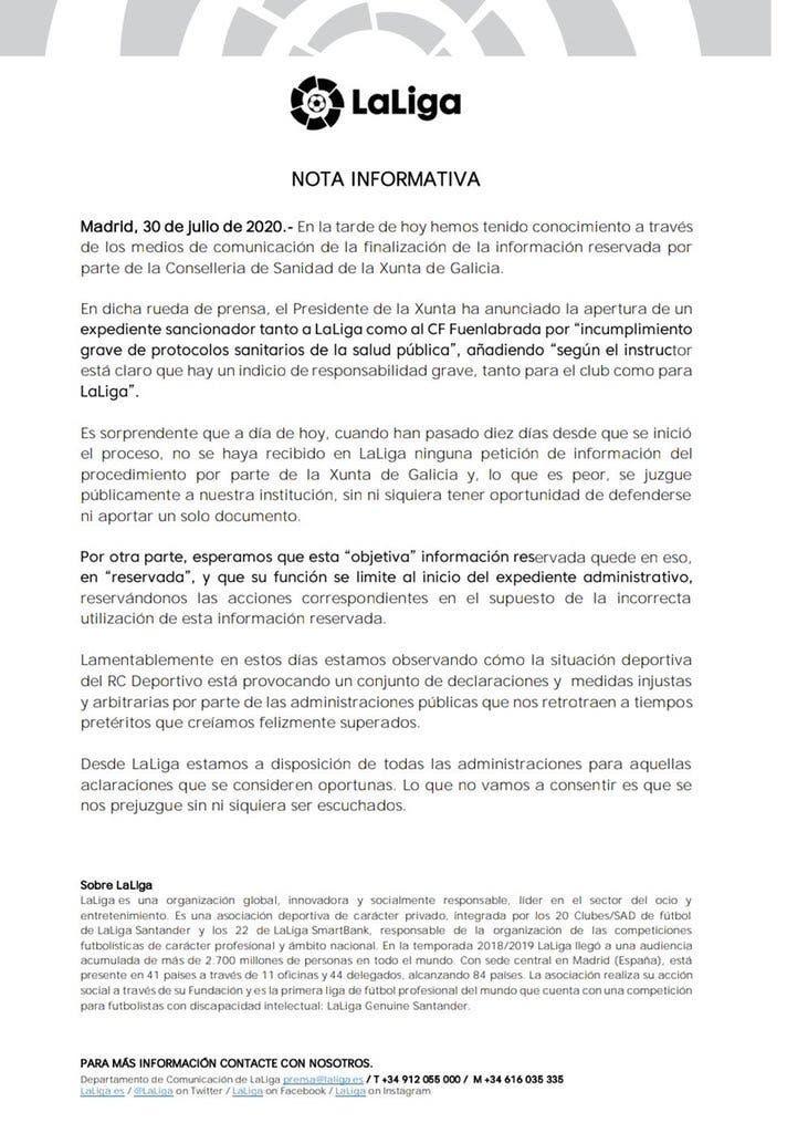 Comunicado de LaLiga contra la Xunta