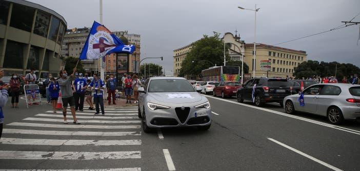Fernando Vázquez en la manifestación del Deportivo