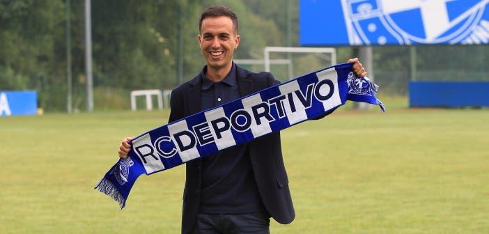 Borja Jiménez en su presentación con el Deportivo