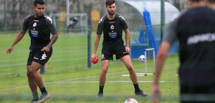 Josep Calvaera en un entrenamiento con el Deportivo