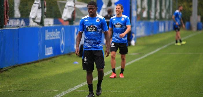 William de Camargo en un entrenamiento del Deportivo