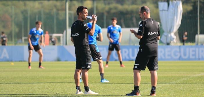 Borja Jiménez en un entrenamiento con el Deportivo