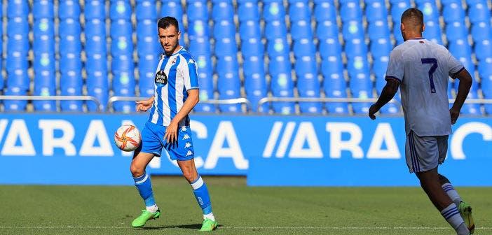 Adrián Lapeña en un partido con el Deportivo