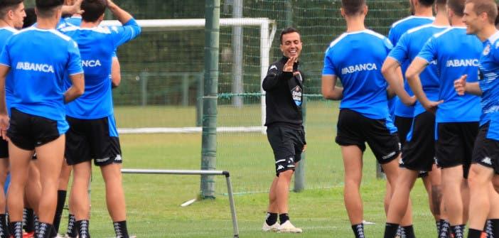 Borja Jiménez en el entrenamiento del Deportivo